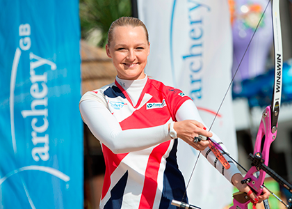Amy-Oliver-in-Old-Market-Square,-the-location-for-the-finals-of-the-European-Archery-Championship-this-May