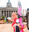 Amy-Oliver-takes-aim-in-Old-Market-Square,-the-location-for-the-finals-of-the-European-Archery-Championship-this-May