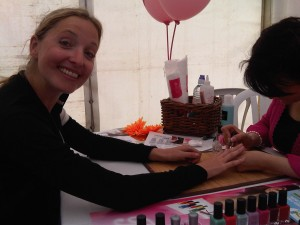 Sportsister's Louise getting a post ride manicure
